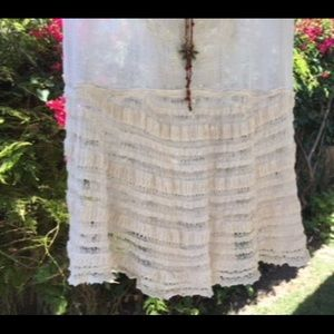Free People Embroidered Lace Top Natural Gauze XS